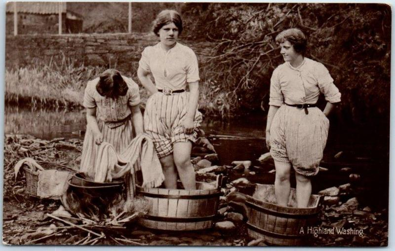 Vintage SCOTLAND United Kingdom RPPC Photo Postcard A Highland Washing Girls