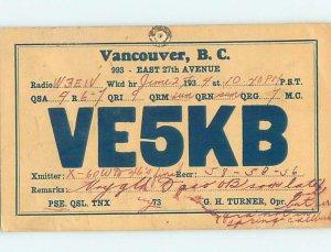 1930s QSL RADIO CARD Vancouver British Columbia BC AH3145