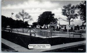 Marysville, Ohio Postcard Municipal Swimming Pool View c1940s Unused