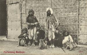 india, Native Jugglers Juggling Bear Tamer, Performing Monkeys and Bears (1910s)