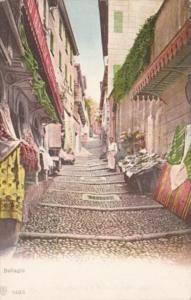 Italy Bellagio Street Scene With Markets