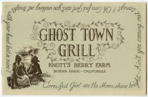 Ghost Town Grill Menu Knott's Berry Farm Buena Park, California Vintage 1940's