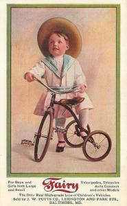 Baltimore MD Fairy Tricycles Auto Coasters Advertising Postcard