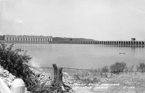 Keokuk Iowa~Power House & Dam~Tree Stump in Foreground~1940s RPPC Postcard