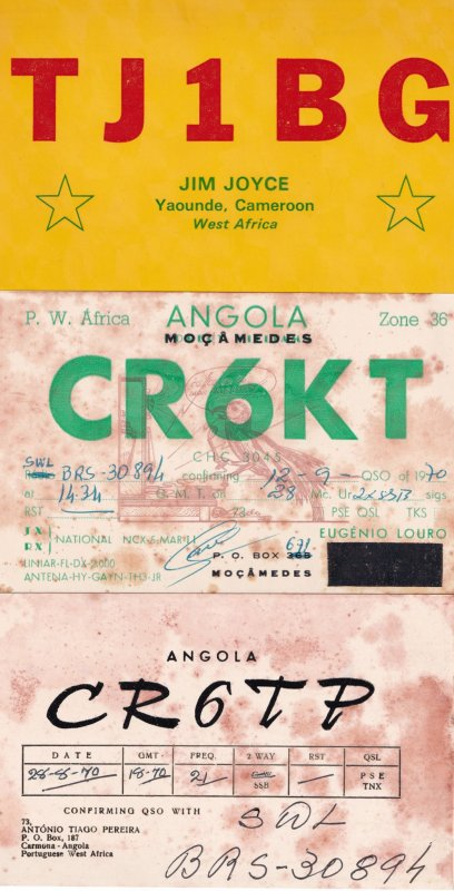 Angola West Africa Cameroon 3x Amateur Radio QSL 1970s Card s