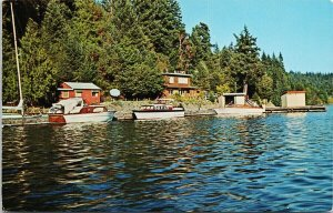 Secret Cove BC Sunshine Coast near Sechelt Boats Allen's Unused Postcard G9