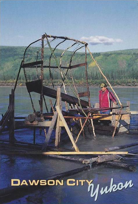 A traditional fish wheel used by native fishermen to catch salmon,  Dawson Ci...