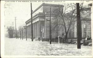 Louisville KY Flood Scene War Memorial Bldg c1920s Postcard