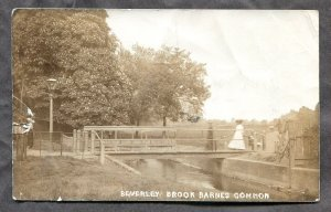 5347 - UK LONDON 1910s Beverley Brook Barnes Common Real Photo Postcard, faulty