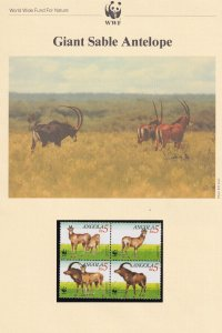 Giant Sable Antelope Angola WWF Stamps and Set Of 4 First Day Cover Bundle
