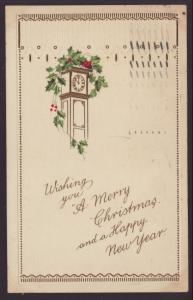 Merry Christmas,Clock,Holly Postcard
