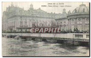 Old Postcard Paris Crue Of the Seine Palace Legion of honor Orsay