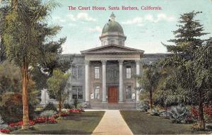Santa Barbara California birds eye view county court house antique pc Z22845