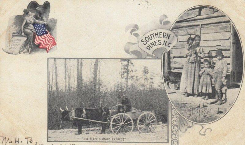 SOUTHERN PINES , North Carolina , 1907 ; Black Family & Ox Cart
