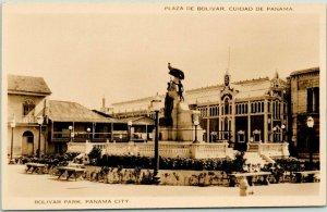 Vintage PANAMA CITY Real Photo RPPC Postcard BOLIVAR PARK Statues /  Unused