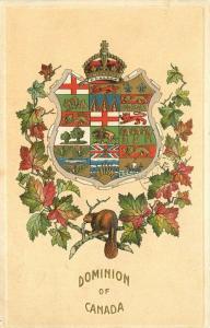 Canada Dominion Crest Shield Maple Leaf Beaver C-1910 Postcard 5713