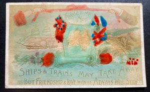 Mint England Picture Postcard Ships & Trains May Take Away Forget Me Not
