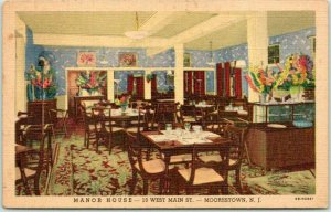 1948 Moorestown, New Jersey Postcard MANOR HOUSE RESTAURANT Interior Linen