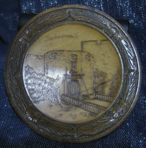 Great wooden souvenir plate plaque Dubrovnik Castle approx 8½ ins wide