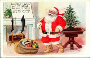 Vtg Postcard 1915  Fairman Pink of Perfection Cartoon Christmas Santa Claus