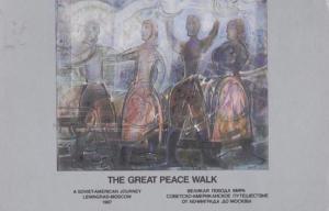 The Great Russian USA Peace Walk Soviet Leningrad Moscow 1987 Postcard