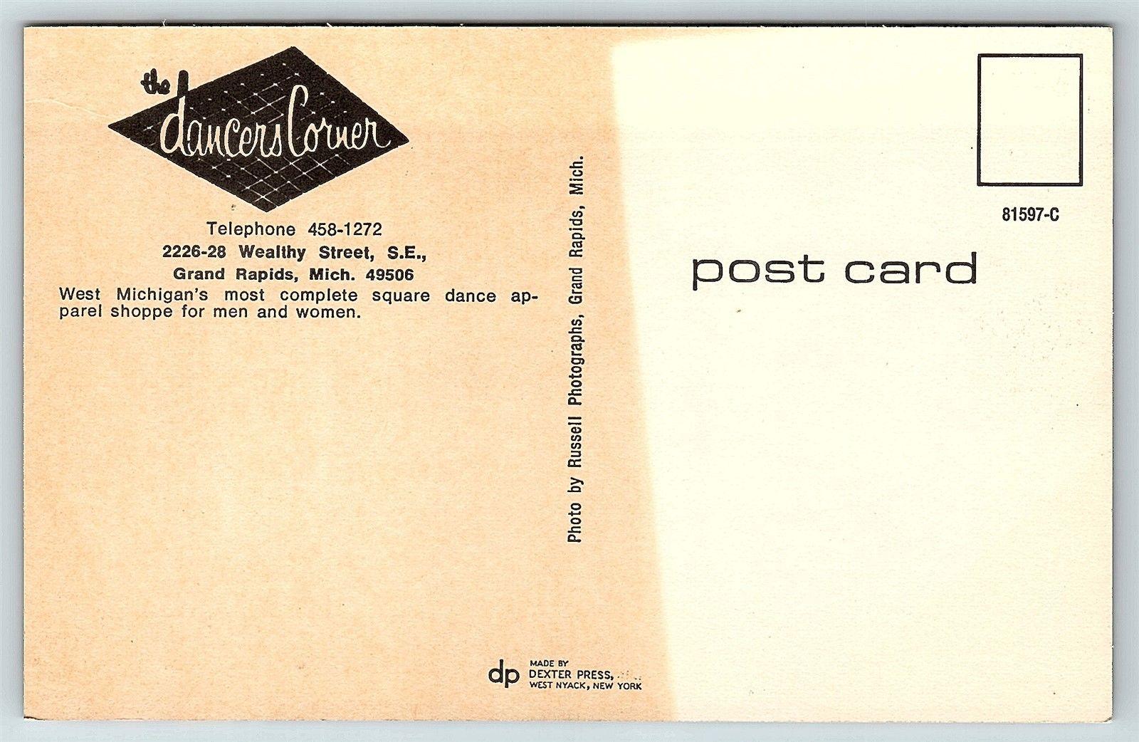 c13f6ca9311e Postcard MI Grand Rapids The Dancers Corner Square Dance Apparel ...