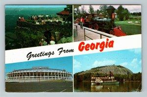 Atlanta GA- Georgia, Big 4 Attractions, Banner Greeting Vintage Chrome Postcard