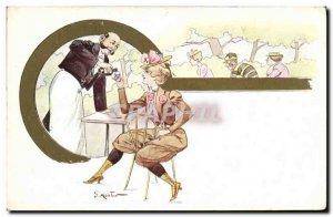 Old Postcard Fantasy Illustrator Woman Mouton