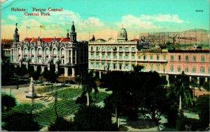 Vintage 1939 Carte Postale Habana Parque Central - Havana Central Park Panorama