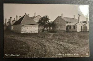Mint Vintage Fort Wilkins Copper Harbor Michigan Real Photo Postcard RPPC