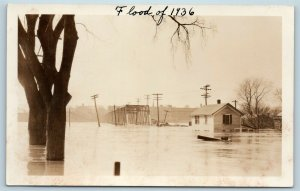 Postcard CT Hartford 1936 Flood Real Photo RPPC Steel Bridge T9