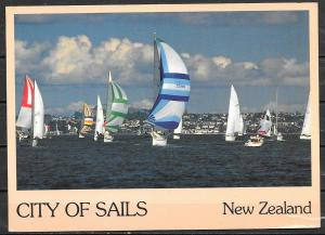1986 New Zealand, Auckland Harbor, sailboats, mailed to USA