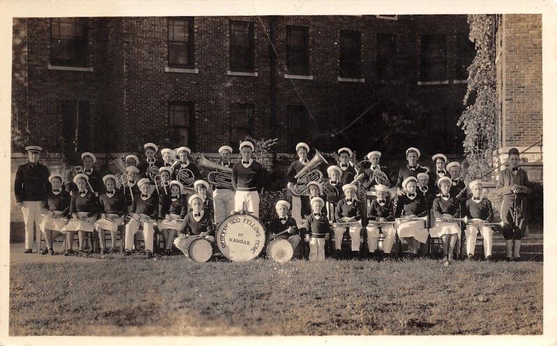 Manhattan Kansas~Rebekah Odd Fellows Home~Orphanage Band~Tuba~Drum~c1940 RPPC