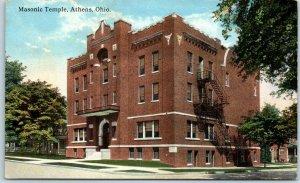 Athens, Ohio Postcard Masonic Temple Building / Street View Curteich c1910s
