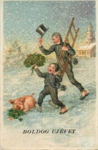 New Year luck chimney sweep and pig early greetings postcard 1940s