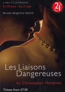 Les Liaisons Dangereuses Play New Vic Theatre Gala Poster Postcard Style Card