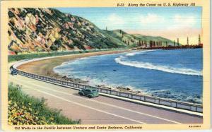 SANTA BARBARA, CA California  COASTAL  OIL WELLS  Pacific Ocean Hwy 101 c1940s