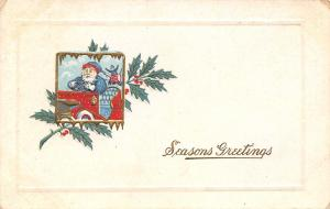 Christmas~Worried Santa in Blue Drives Vintage Red Auto~Gold Leaf Emboss~1912 PC