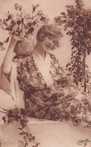 From The Land Of Sunshine, Woman Posing With Flowers, TUCK No. 4635, 1900-1...