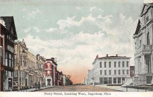 Napoleon Ohio~Perry Street Looking West~Restaurant~1910 Postcard
