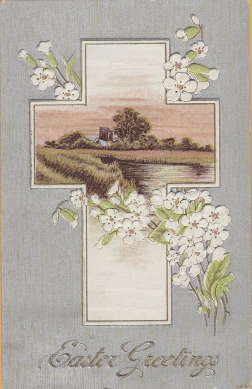 Vintage Easter 1911-Red Cross and Lilies Best Eater Wishes