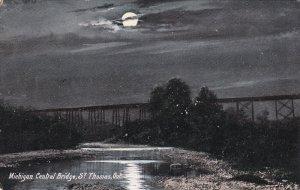 ST. THOMAS, Ontario, Canada, PU-1907; Michigan Central Bridge, Night Scene