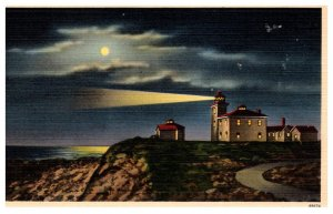 Rhode Island Watch Hill Light House Point by Moonlight