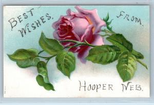 HOOPER, NE Nebraska  BEST WISHES  FROM Embossed Postcard  c1910s  ROSE