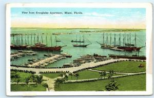 Miami Florida Yacht Basin Harbor View from Everglades Apartment Postcard D15