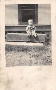 C17/ People Real Photo RPPC Postcard c1910 Child Hand-Cut Sandstone Block 19