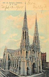 NEW YORK CITY~ST PATRICKS CATHEDRAL ~1905 PSMK ROTOGRAPH TINTED PHOTO POSTCARD