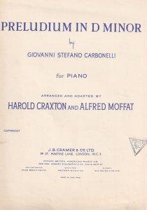 Preludium In D Minor Harold Craxon & Alfred Moffat Olde Sheet Music