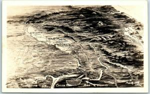 Washington RPPC Map Postcard Perspective View Coulee Dam & Vicinity Ellis 1942