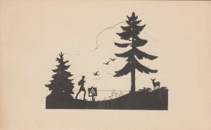 SILHOUETTE, 1900-10s; Young man Hiking, Deer